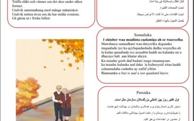SIU uppmärksammar FN internationella äldredagen på en Affisch på 12 språk